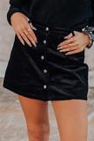 Black High Waist Button Corduroy Mini Skirt LC651038-2