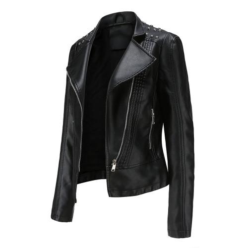Black Rivet Decoration Turndown Collar PU Leather Jacket TQK280137-2