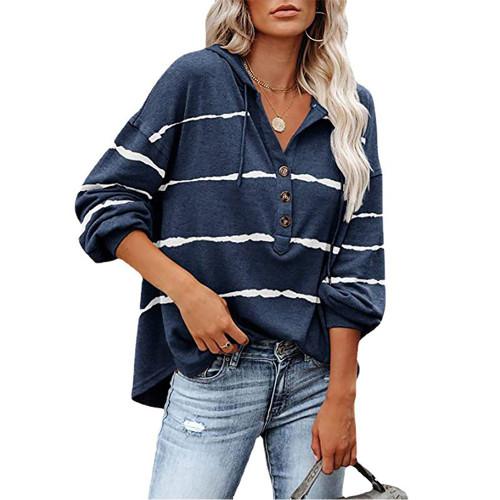 Navy Blue Wave Striped 1/2 Button-up Oversized Sweatshirt TQK230346-34