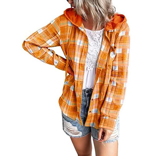 Orange Plaid Print Hooded Shirt Jacket TQK280139-14