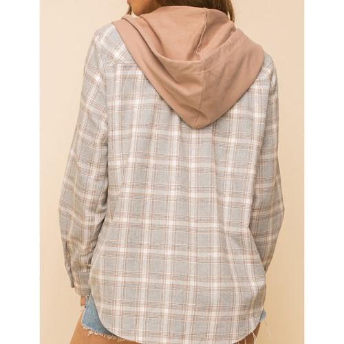 Gray Plaid Print Hooded Shirt Jacket TQK280139-11