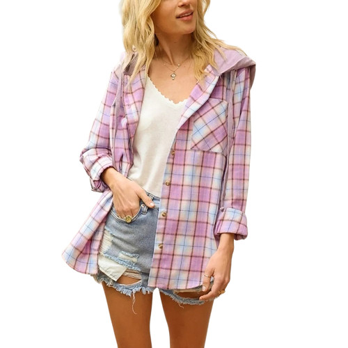 Purple Plaid Print Hooded Shirt Jacket TQK280139-8