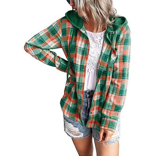 Green Plaid Print Hooded Shirt Jacket TQK280139-9