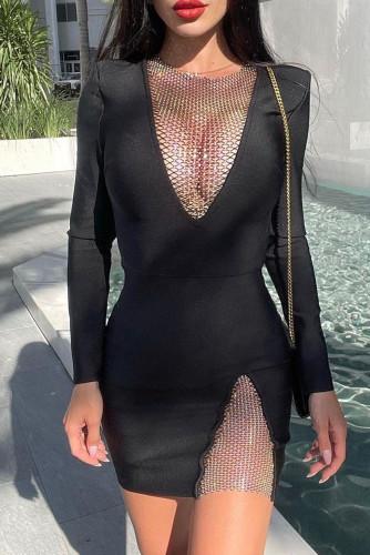Mesh Patch Deep V Neck Long Sleeve Little Black Dress LC229920-2