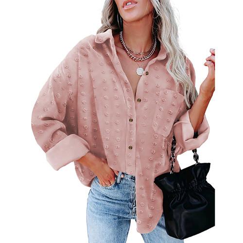 Pink Swiss Dot Jacquard Chiffon Shirt TQK220077-10