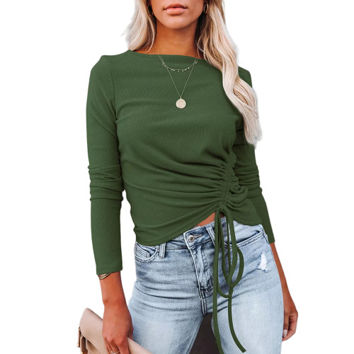 Solid Army Green Knitted Drawstring Long Sleeve Sweater TQK271318-27