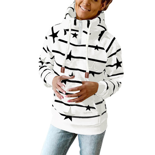 White Striped & Star Print Cotton Blend Hoodie TQK230339-1
