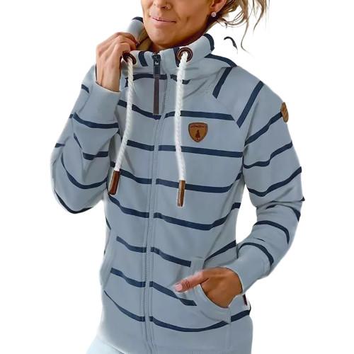 Light Blue Cotton Blend Striped Print Casual Hoodie TQK230338-30