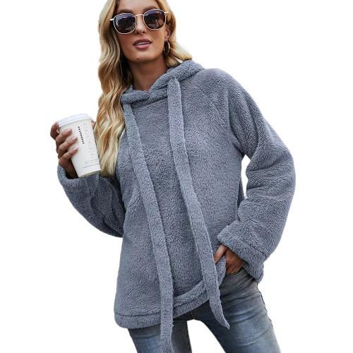 Pewter Double Sided Fleece Warm Sweatshirt TQK230342-43