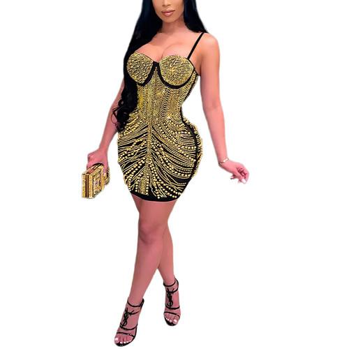 Gold Rhinestone Sling Sleeveless Bubble Bodycon Dress TQK310681-12