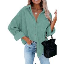 Light Green Corduroy Button Pocket Oversize Shirt TQK220073-28