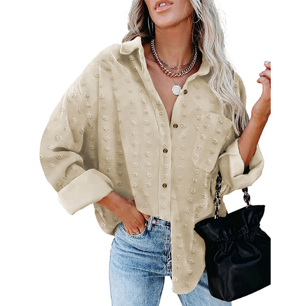 Apricot Swiss Dot Jacquard Chiffon Shirt TQK220077-18