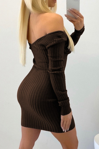 Brown Off the Shoulder Ribbed Bodycon Mini Dress LC2210020-17