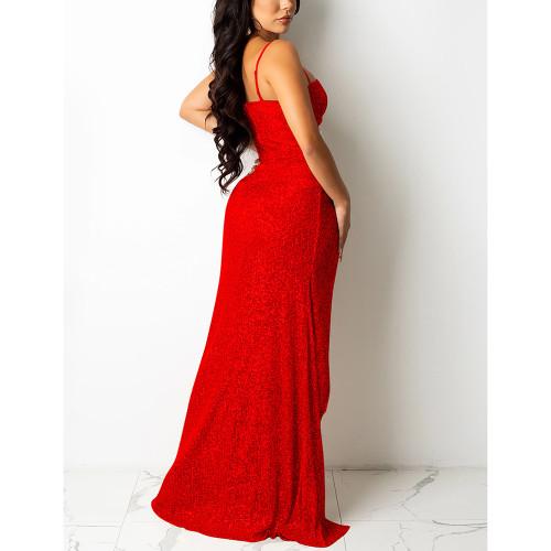 Red High Slit Rhinestone V Neckline Off Shoulder Maxi Dress TQK310683-3