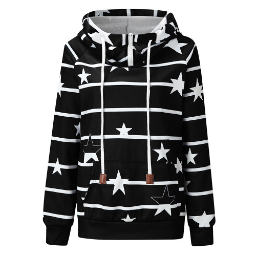 Black Striped & Star Print Cotton Blend Hoodie TQK230339-2