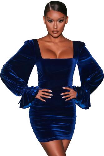 Blue Velvet Puff Sleeve Mini Dress LC229978-5