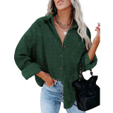 Dark Green Swiss Dot Jacquard Chiffon Shirt TQK220077-36