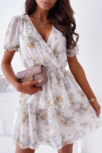 White Wrap V Neck Tiered Ruffle Floral Dress LC226288-1