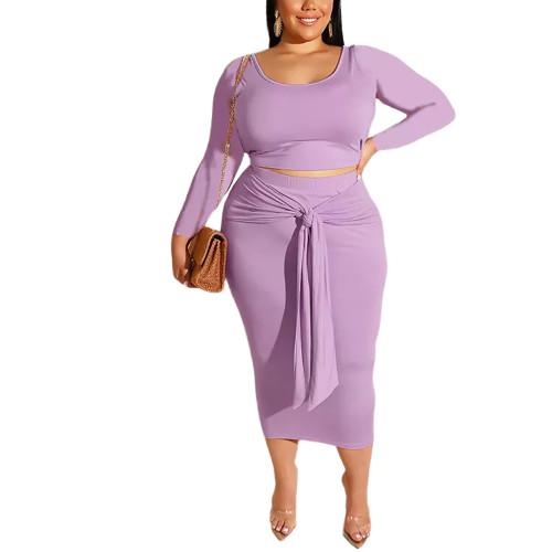 Purple Long Sleeve Crop Top and Tie Waist Skirt Plus Size Set TQK710408-8