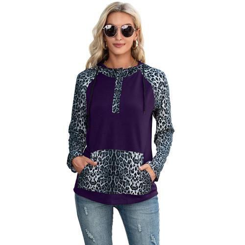 Purple Splice Leopard Print Long Sleeve Hoodie TQK230341-8