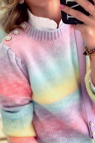 Fake Two-piece Pearl Decoration Gradient Tie-dye Sweater LC2721536-22