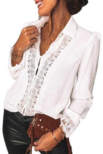 White Lace Splicing Buttoned Shirt LC255456-1