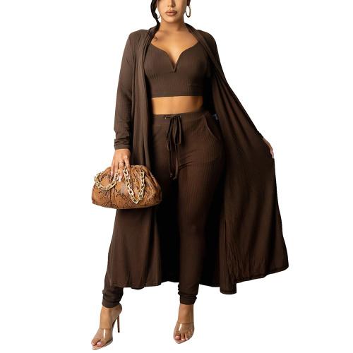 Solid Coffee Vest Pant and Robe 3pcs Set TQK710409-15