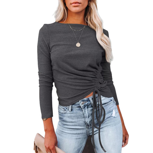 Solid Dark Gray Knitted Drawstring Long Sleeve Sweater TQK271318-26
