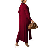Solid Wine Red Vest Pant and Robe 3pcs Set TQK710409-23