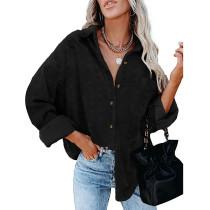 Black Swiss Dot Jacquard Chiffon Shirt TQK220077-2
