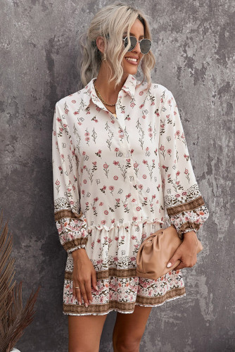 Floral Print Puff Sleeve Buttoned Shirt Mini Dress LC228464-1