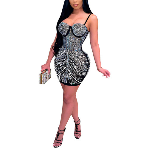 Black Rhinestone Sling Sleeveless Bubble Bodycon Dress TQK310681-2