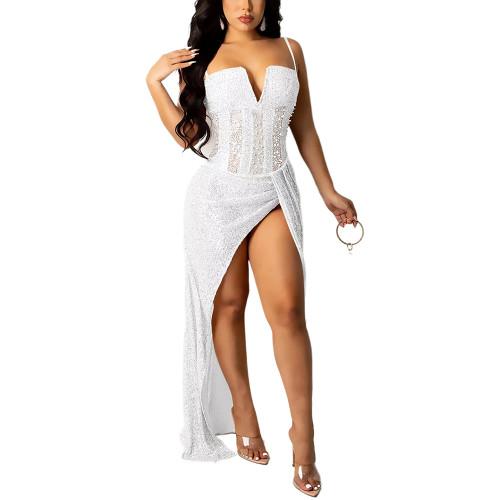 White High Slit Rhinestone V Neckline Off Shoulder Maxi Dress TQK310683-1