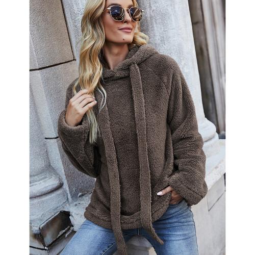 Brown Double Sided Fleece Warm Sweatshirt TQK230342-17