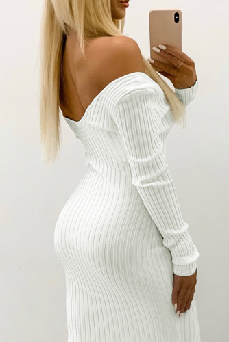 White Off the Shoulder Ribbed Bodycon Mini Dress LC2210020-1