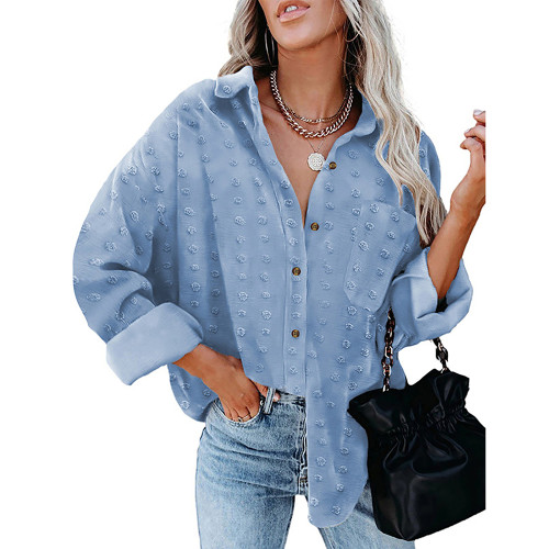 Light Blue Swiss Dot Jacquard Chiffon Shirt TQK220077-30