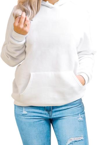 White Kangaroo Pocket Long Sleeve Pullover Hoodie LC2538320-1