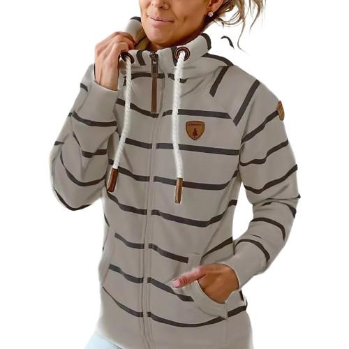 Gray Cotton Blend Striped Print Casual Hoodie TQK230338-11