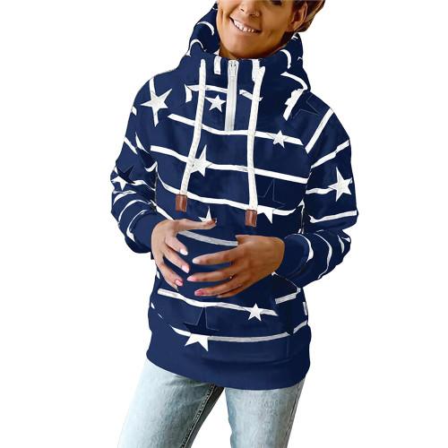 Navy Blue Striped & Star Print Cotton Blend Hoodie TQK230339-34