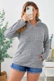 Gray Heathered Turn-down Zip Collar Plus Size Sweatshirt LC253697-11