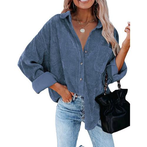 Cyan Corduroy Button Pocket Oversize Shirt TQK220073-68