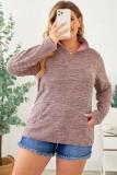 Heathered Turn-down Zip Collar Plus Size Sweatshirt LC253697-10