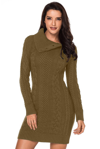 Asymmetric Buttoned Collar Bodycon Sweater Dress LC27864-17