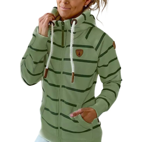 Green Cotton Blend Striped Print Casual Hoodie TQK230338-9