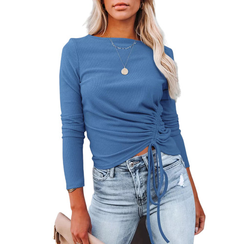 Solid Blue Knitted Drawstring Long Sleeve Sweater TQK271318-5