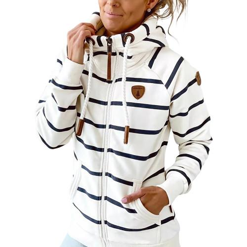 White Cotton Blend Striped Print Casual Hoodie TQK230338-1