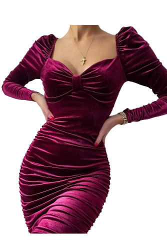 Fuchsia Knotted Bust Puff Sleeve Ruched Velvet Dress LC2210002-3