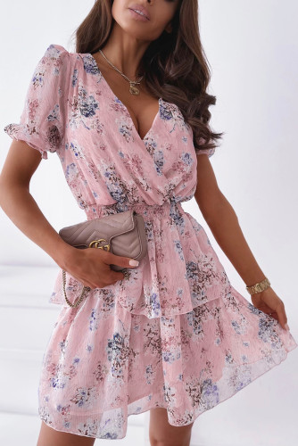 Pink Wrap V Neck Tiered Ruffle Floral Dress LC226288-10