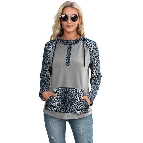 Light Gray Splice Leopard Print Long Sleeve Hoodie TQK230341-25