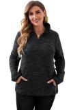 Black Heathered Turn-down Zip Collar Plus Size Sweatshirt LC253697-2